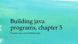 Building java programs, chapter