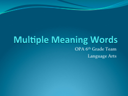 Multiple Meaning Words PowerPoint PPT Presentation