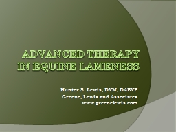 ADVANCED THERAPY IN EQUINE LAMENESS
