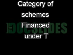 Category of schemes Financed under T&D