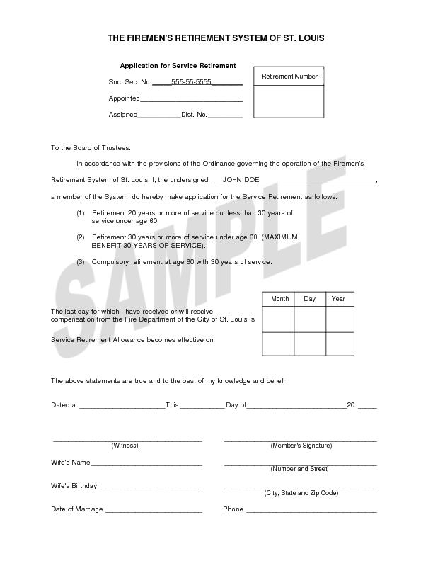 THE FIREMEN'S RETIREMENT SYSTEM OF ST. LOUIS   Application for Service