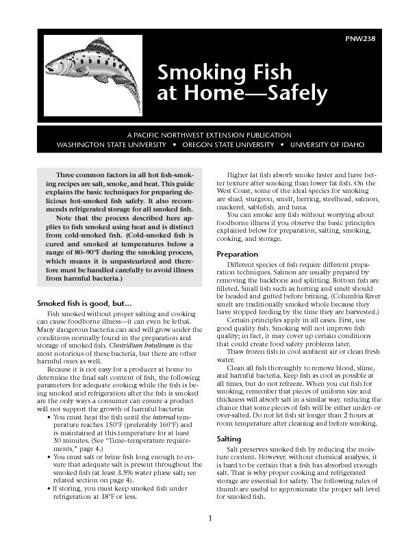 PNW238Smoking Fish at Home—Safely PowerPoint PPT Presentation