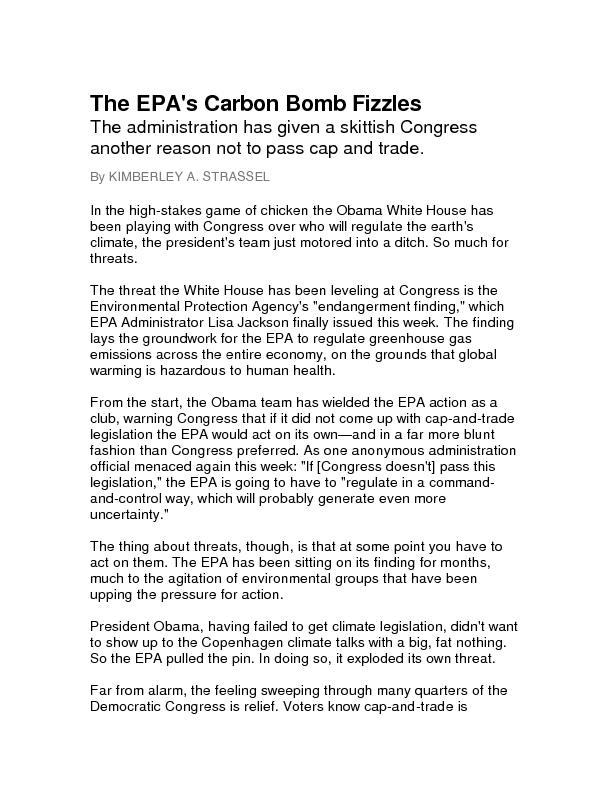 The EPA's Carbon Bomb FizzlesThe administration has given a skittish C