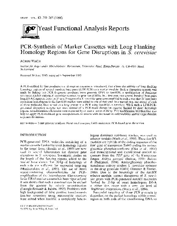 Functional Analysis Cassettes with Long Flanking Homology Regions Gene