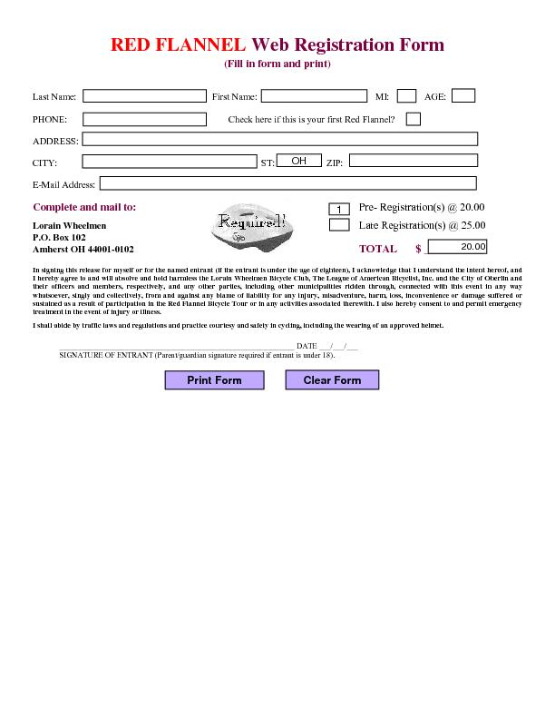 Web Registration Form (Fill in form and print)