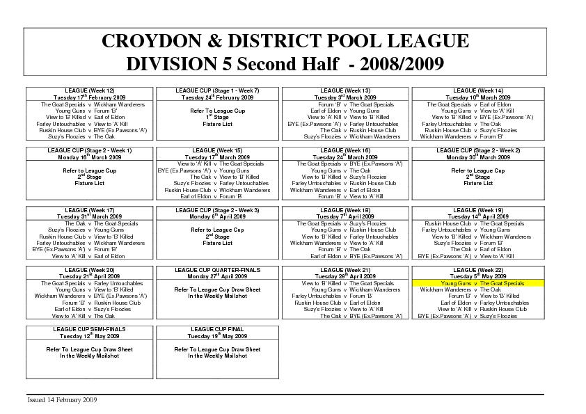 CROYDON & DISTRICT POOL LEAGUE