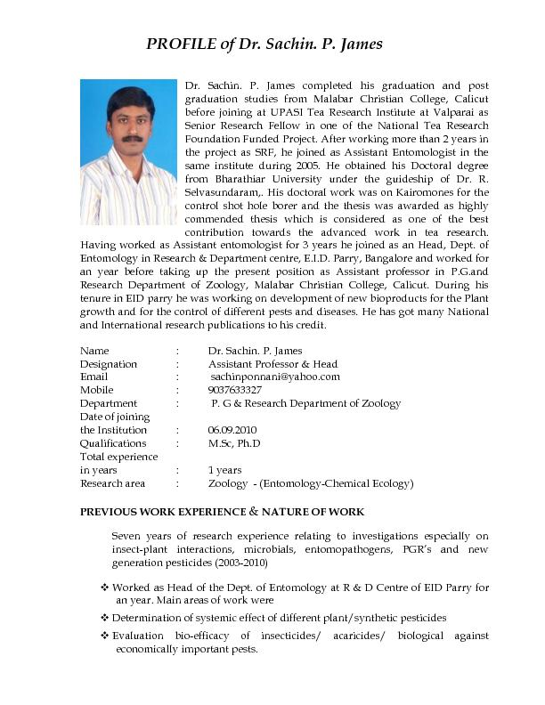 Dr. Sachin. P. James completed his graduation and post