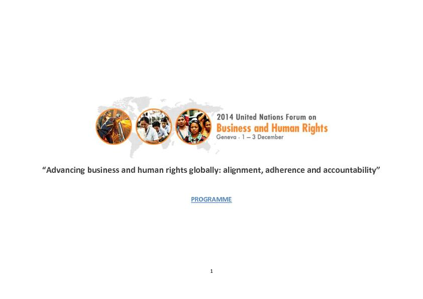 """""""Advancing business and human rights globally: alignment, adher"""