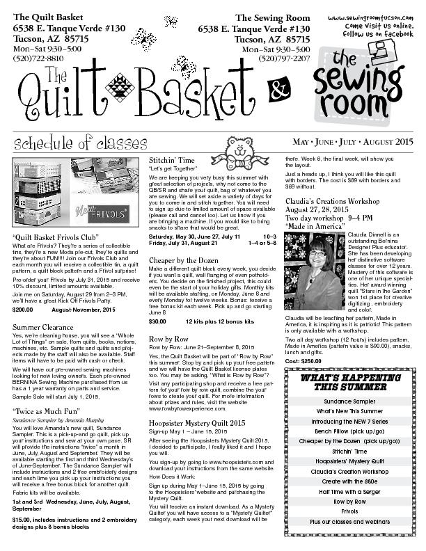 Quilt  Basketnewsletter with schedule of classesTheQuilt  BasketThe ..