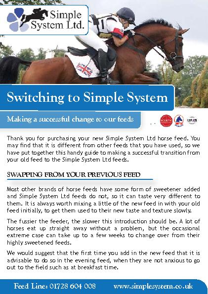 Thank you for purchasing your new Simple System Ltd horse feed. You ma