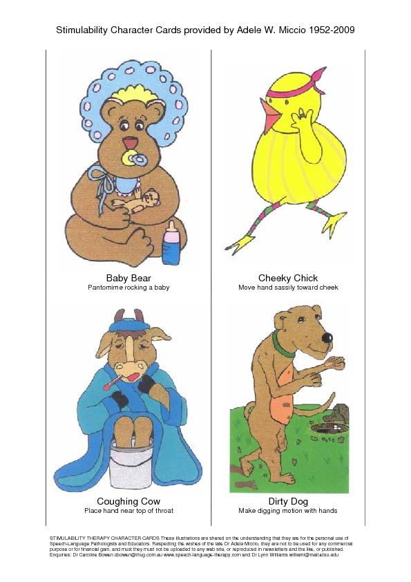 Stimulability Character Cards provided by Adele W. Miccio 1952-2009 ST