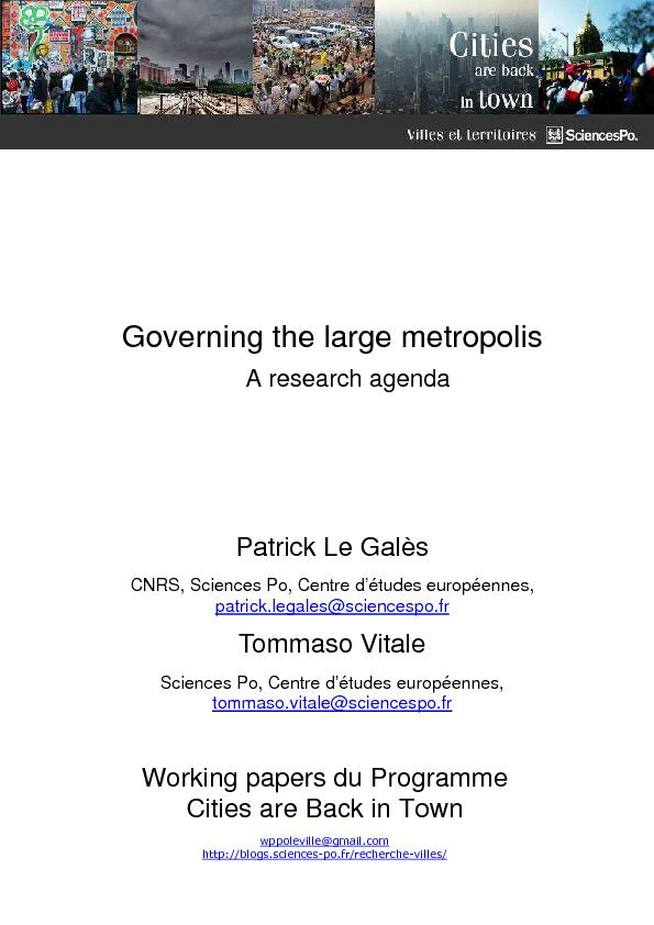 Working papers du Programme