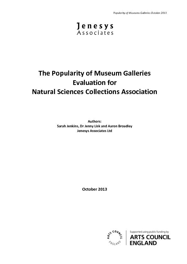 Popularity of Museums Galleries October 2013