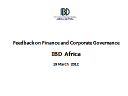 Feedback on Finance and Corporate Governance