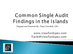 Common Single Audit Findings in the Islands
