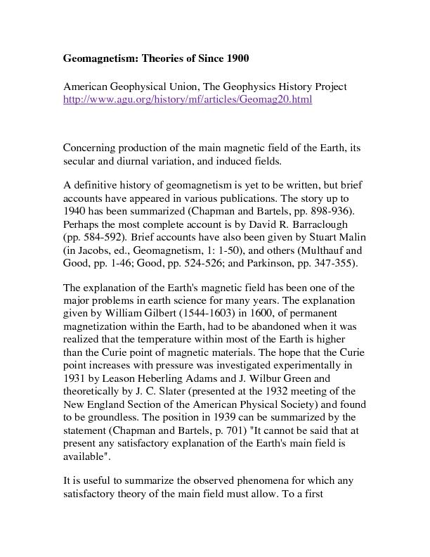 Geomagnetism: Theories of Since 1900 American Geophysical Union, The G