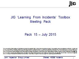 JIG 'Learning From Incidents' Toolbox Meeting Pack