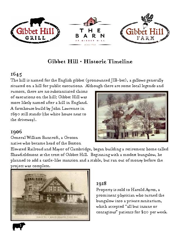 Gibbet Hill • Historic TimelineThe hill is named for the Englis