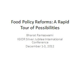 Food Policy Reforms: A Rapid Tour of Possibilities
