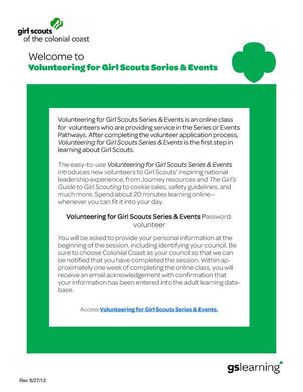 Welcome to  Volunteering for Girl Scouts Series & Events