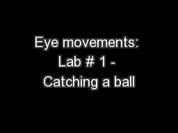 Eye movements: Lab # 1 - Catching a ball