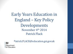 Early Years Education in England – Key Policy Development