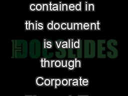 Welcome to the Car Rental Dashboard Corporate Discount  The information contained in this document is valid through  Corporate Discount  The information contained in this document is valid through Ab