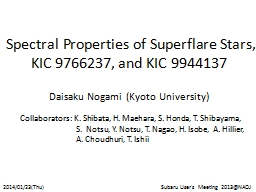 Spectral Properties of Superflare Stars, KIC 9766237, and K