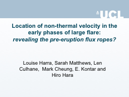 Location of non-thermal velocity in the early phases of lar PowerPoint PPT Presentation