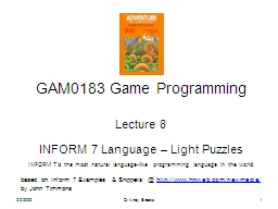 GAM0183 Game Programming PowerPoint PPT Presentation