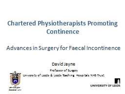 Chartered Physiotherapists Promoting Continence