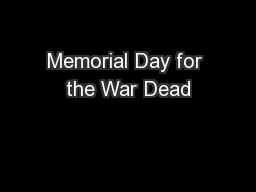 Memorial Day for the War Dead