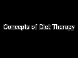 Concepts of Diet Therapy