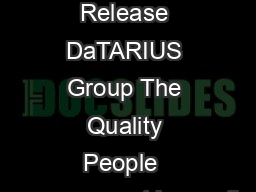 Press Release DaTARIUS Group The Quality People  measurement inspectio