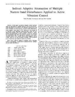 IEEE TRANSACTIONS ON CONTROL SYSTEMS TECHNOLOGY Indirect Adaptive Attenuation of Multiple Narrowband Disturbances Applied to Active Vibration Control TudorBogdan Airimitoaie and Ioan Dor e Landau Abs