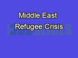 Middle East Refugee Crisis PowerPoint PPT Presentation