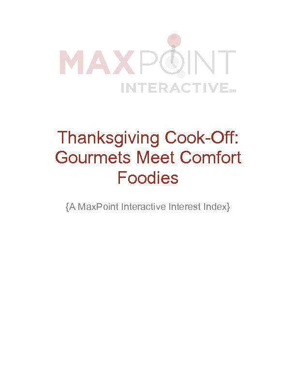 !!!!!Thanksgiving Cook-Off: Gourmets Meet Comfort Foodies !!{A MaxPoin