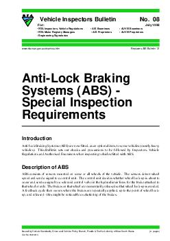 AntiLock Braking Systems ABS  Special Inspection Requirements  pages Vehicle Inspectors Bulletin No