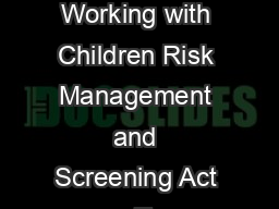 Blue card application Working with Children Risk Management and Screening Act  T PowerPoint PPT Presentation
