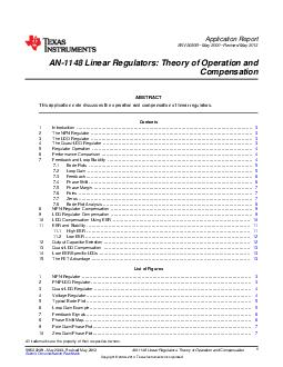 Application Report SNVAB May  Revised May  AN Linear Regulators Theory of Operation and Compensation