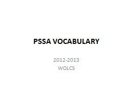 PSSA VOCABULARY