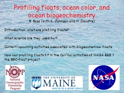 Profiling floats, ocean color, and