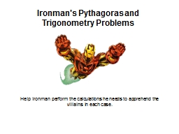 Ironman's Pythagoras and Trigonometry Problems PowerPoint