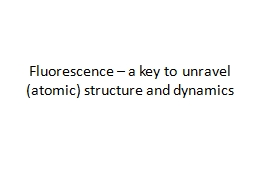 Fluorescence – a key to unravel (atomic) structure and dy