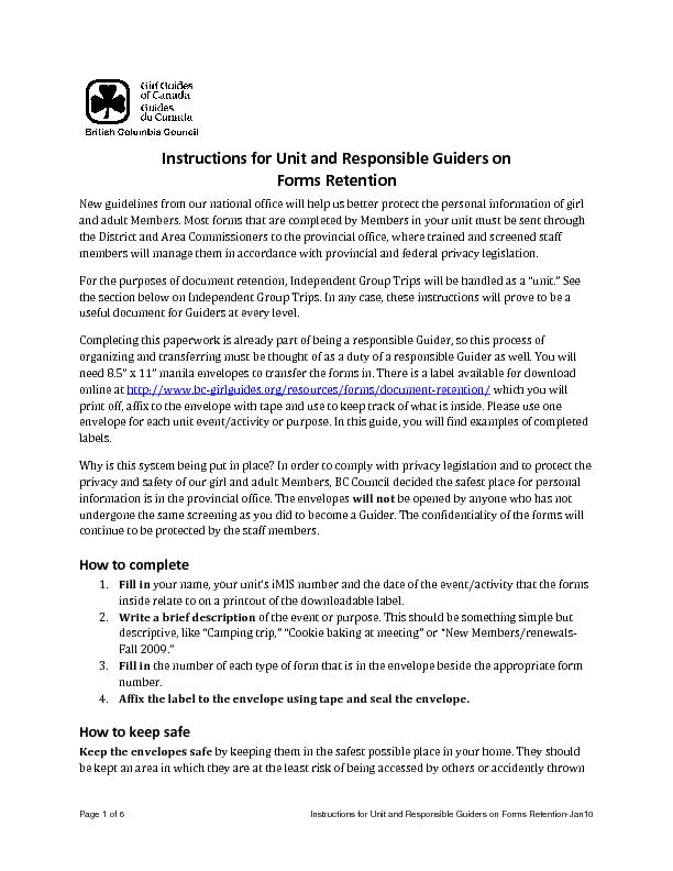 Page 1 of 6 Instructions for Unit and Responsible Guiders on Forms Ret
