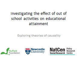 Investigating the effect of out of school activities on edu