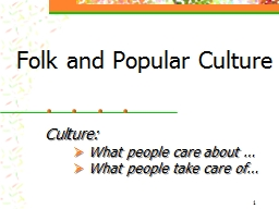 1 Folk and Popular Culture