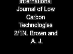 International Journal of Low Carbon Technologies 2/1N. Brown and A. J.