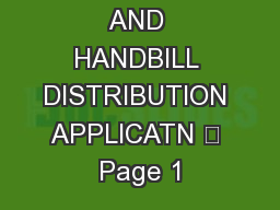 SOLICITOR AND HANDBILL DISTRIBUTION APPLICATN – Page 1