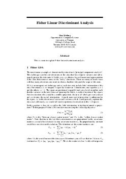 Fisher Linear Discriminant Analysis Max Welling Department of Computer Science University of Toronto  Kings College Road Toronto MS G Canada wellingcs